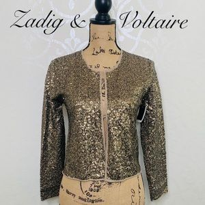 ZADIG & VOLTAIRE GOLD SEQUIN CARDIGAN SIZE SMALL